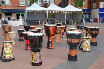 Drums, Bulwell Market Sq, photo credit, Wendy Soo-Mawston