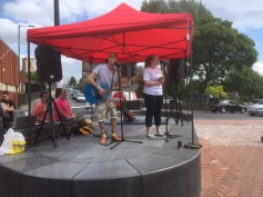 Josh Simms and Julia Worrell, young musicians on the market square